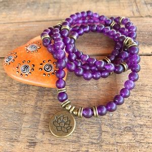 🆕🆕🆕✨MATTE PURPLE SANDSTONE MALA NECKLACE 6mm✨